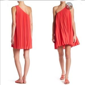 Trina Turk Syla Pleated One shoulder dress NWT